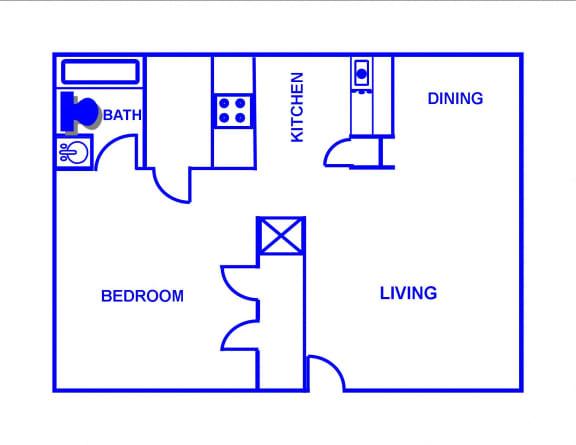 Floor Plan  1BR, 1BTH - A/B
