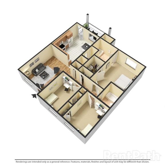 Floor Plan  3 BR, 2 BTH Garden