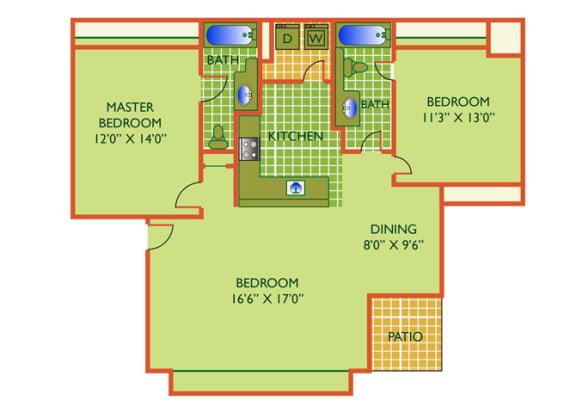 Floor Plan  Isle - 2 Bedrooms