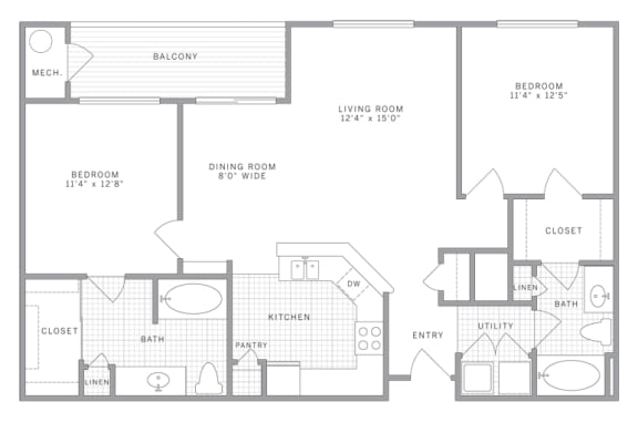 Floor Plan  B2 Floor Plan at AVE Union, Union, NJ