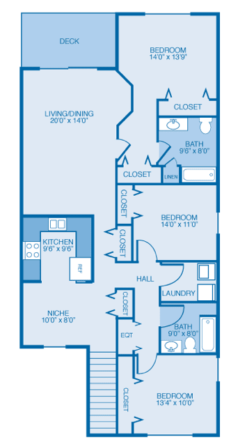 Floor Plan  Madison 2nd Floor  at Oak Hill Apartments and Townhomes, New York
