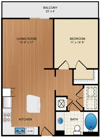 Floor Plan  1 Bedroom 1 Bathroom Floor Plan at Eon at Lindbergh, Atlanta, GA