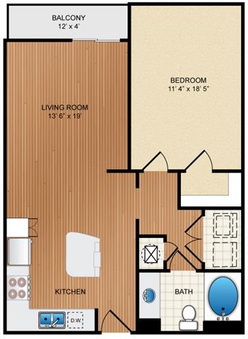 Floor Plan  One Bed One Bath Floor Plan at Eon at Lindbergh, Atlanta, 30324