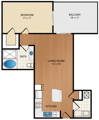 Floor Plan  1 Bedroom 1 Bathroom Floor Plan at Eon at Lindbergh, Atlanta