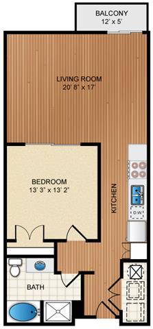 Floor Plan  1 Bedroom 1 Bathroom Floor Plan at Eon at Lindbergh, Georgia