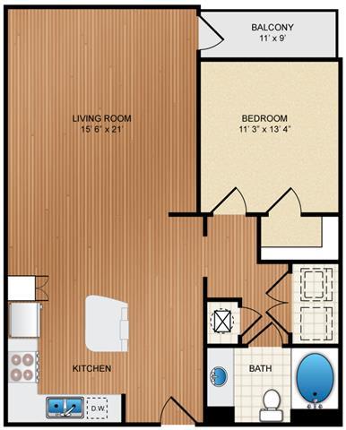 Floor Plan  1 Bedroom 1 Bathroom Floor Plan at Eon at Lindbergh, Atlanta, GA, 30324