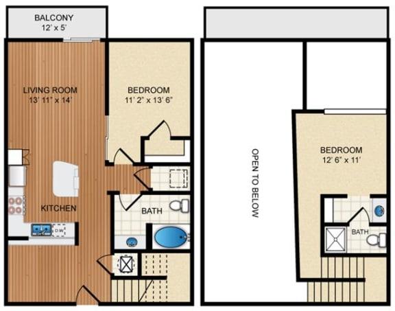 Floor Plan  2 Bed 2 Bath Floor Plan at Eon at Lindbergh, Atlanta, GA