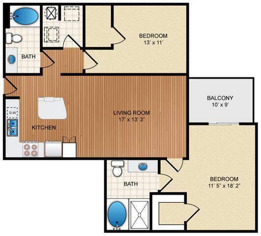 Floor Plan  2 bedroom 2 bath Floor Plan at Eon at Lindbergh, Atlanta, Georgia