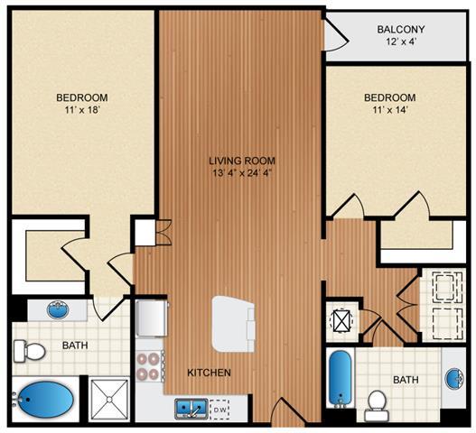 Floor Plan  2 Bedroom 2 Bathroom Floor Plan at Eon at Lindbergh, Georgia, 30324