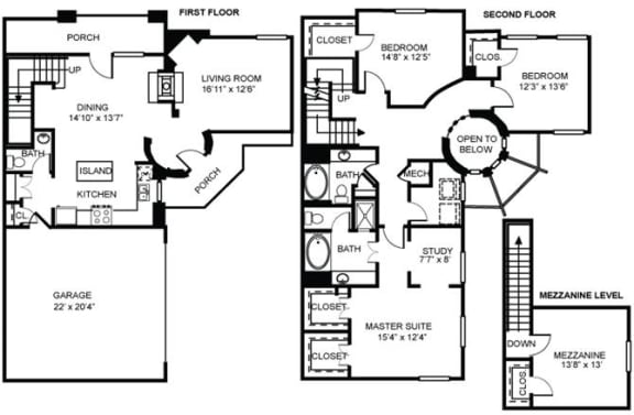 Floor Plan  4x2.5 D1 Floor Plan at Estancia Townhomes, Texas, 75248