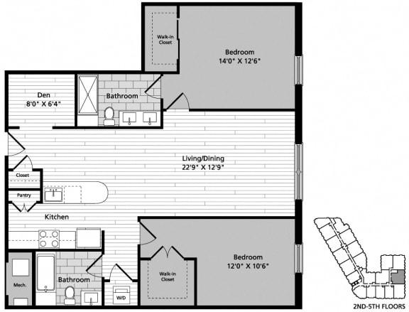 Floor Plan  D10D 2 Bedroom Den 2 Baths Floor Plan at Gatehouse 75, Charlestown, MA