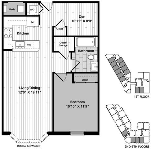 Floor Plan  A2D 1 Bedroom Den 1Bath Floor Plan at Gatehouse 75, Charlestown, Massachusetts