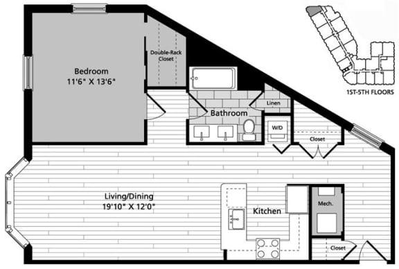 Floor Plan  A4 Floor Plan at Gatehouse 75, Massachusetts, 02129