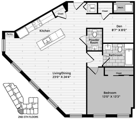 Floor Plan  A6D 1 Bedroom Den 1.5 Baths Floor Plan at Gatehouse 75, Charlestown, MA, 02129