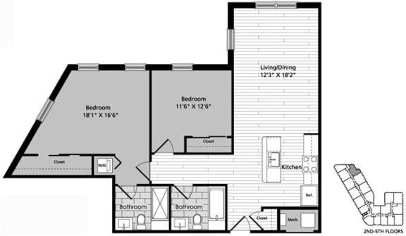 Floor Plan  D1 Floor Plan at Gatehouse 75, Charlestown, Massachusetts