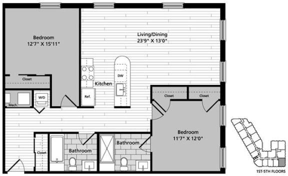 Floor Plan  D2 Floor Plan at Gatehouse 75, Massachusetts