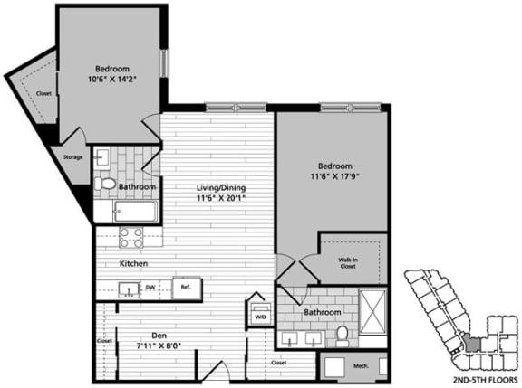 Floor Plan  at Gatehouse 75, Charlestown, MA, 02129