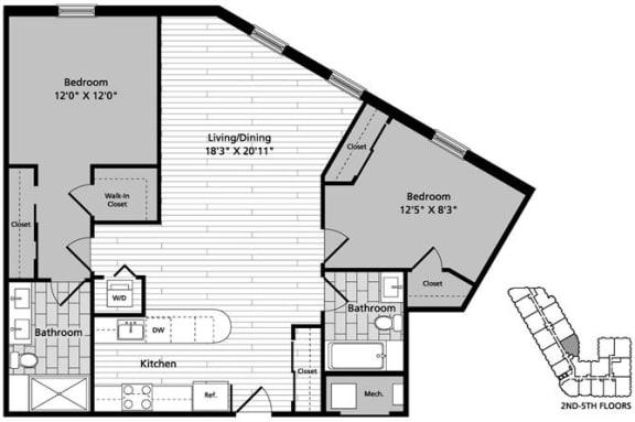 Floor Plan  D4 Floor Plan at Gatehouse 75, Charlestown, 02129