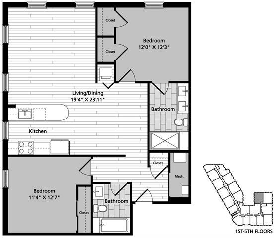 Floor Plan  D6 Floor Plan at Gatehouse 75, Massachusetts