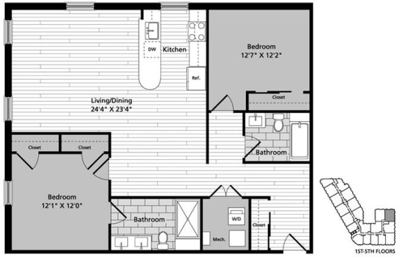 Floor Plan  D7 Floor Plan at Gatehouse 75, Charlestown, MA, 02129