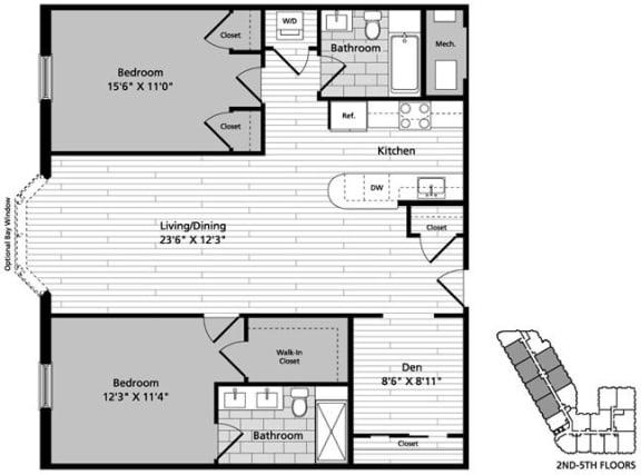 Floor Plan  D9D 2 Bedroom Den 2 Baths Floor Plan at Gatehouse 75, Charlestown, 02129