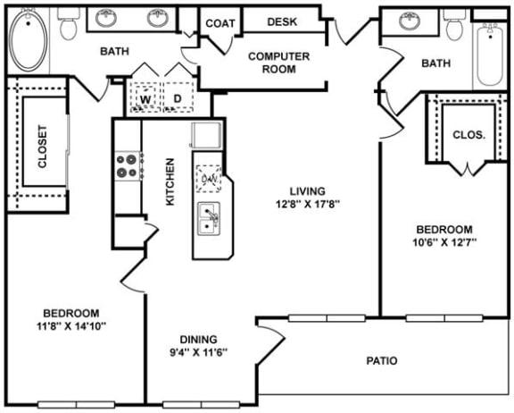 Floor Plan  D1 Floor Plan at The Plaza Museum District, Houston, TX, 77004