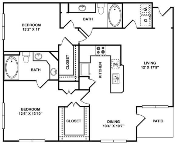 Floor Plan  D2 Floor Plan at The Plaza Museum District, Houston, TX