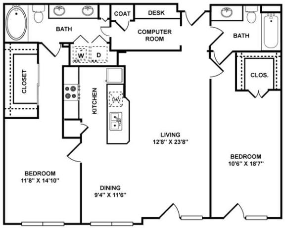 Floor Plan  D5 Floor Plan at The Plaza Museum District, Houston