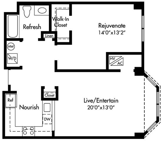 Floor Plan  Select homes feature Upgraded Kitchen with Granite Counters, Sleek Grey Plank Flooring, Open-Concept, 20-Foot Living Space, King Size Bedroom, Walk-in Closet, Spa Bath, Washer/Dryer and Optional Bay Window