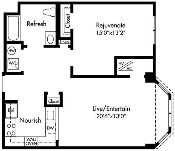 Floor Plan  Select homes are ADA Accessible Apartments featuring Upgraded Kitchen with Granite Counters, Sleek Grey Plank Flooring, Open-Concept, 20-Foot Living Space, King Size Bedroom, Walk-in Closet, Spa Bath, Washer/Dryer and Optional Bay Window