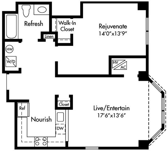 Floor Plan  Select homes feature Upgraded Kitchen with Granite Counters, Sleek Grey Plank Flooring, Open-Concept, 17-Foot Living Space, King Size Bedroom, Walk-in Closet, Spa Bath, Washer/Dryer, and Optional Bay Window
