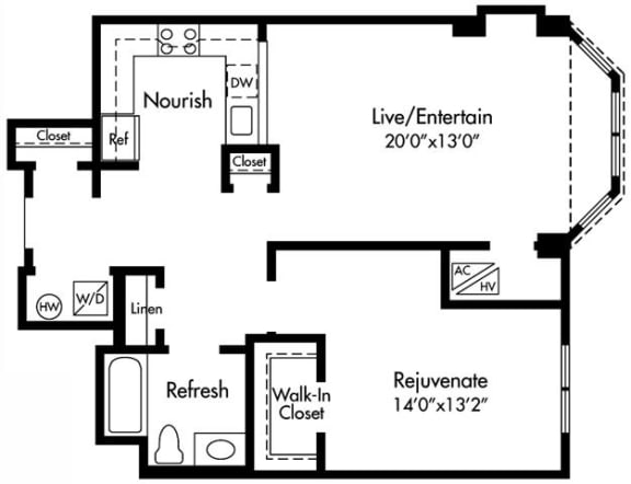 Floor Plan  A4 Floor Plan at HighPoint, Quincy, MA, 02169