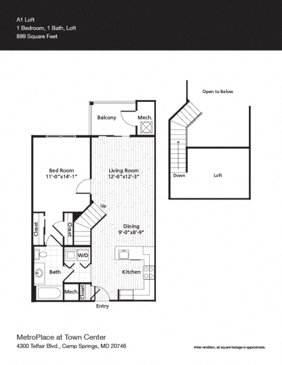 Floor Plan  A1L Floor Plan at Metro Place at Town Center, Camp Springs, MD, 20746