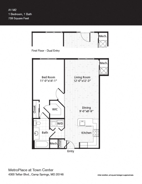Floor Plan  A1M2 Floor Plan at Metro Place at Town Center, Camp Springs, MD