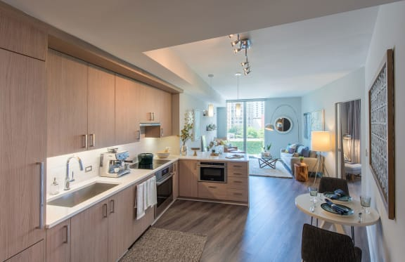 Designer lighting package with island pendants and kitchen task lighting at Element 28, Bethesda, MD
