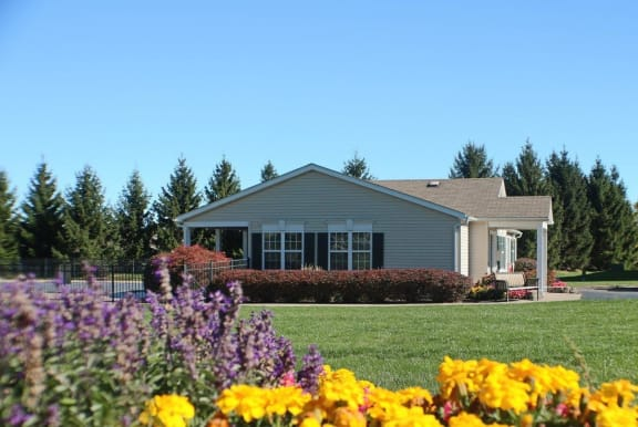 Beautiful Flowers and Green Lawn at Stone Hedge Village Townhouses, Farmington, NY