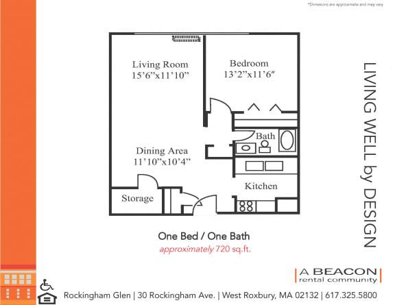 Floor Plan  One bedroom apartment in West Roxbury, MA