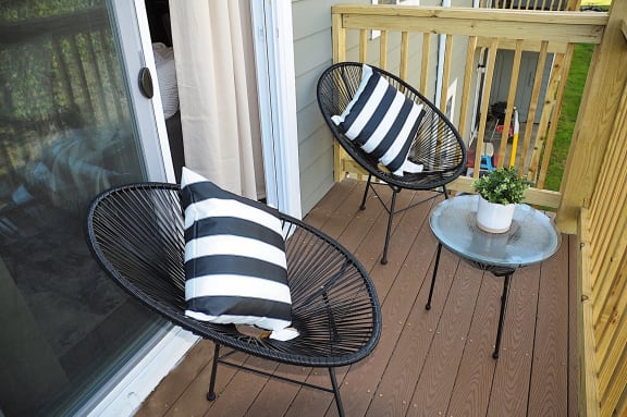 Balcony With Ample Seating at Pickwick Farms Apartments, Indianapolis, Indiana