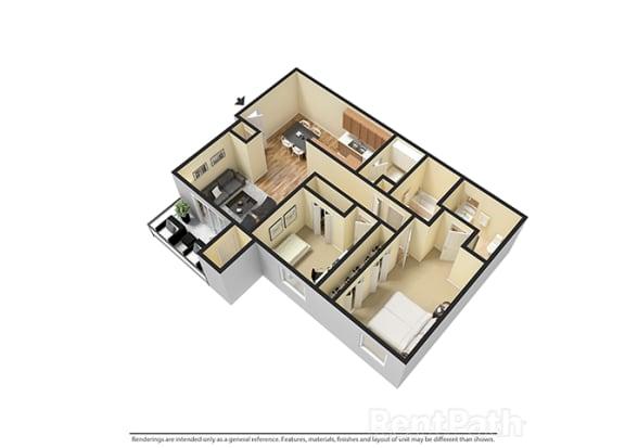 Floor Plan  Two Bedroom 3D View Floor Plan at Walnut Creek Apartments, Indiana, 46902