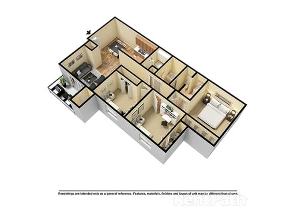 Floor Plan  Three Bedroom 3D View Floor Plan at Walnut Creek Apartments, Kokomo, IN