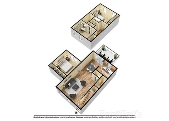 Floor Plan  Three Bedroom Town 3D Floor Plan at Walnut Creek Apartments, Kokomo, IN