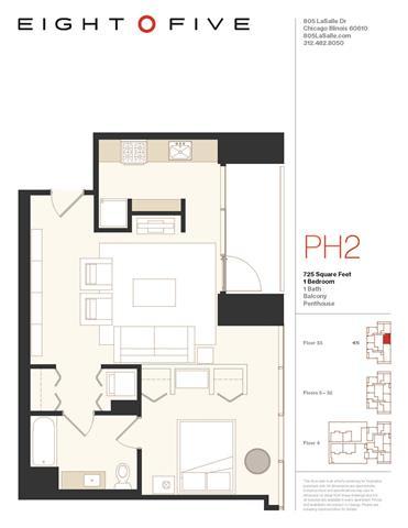 Floor Plan  A2PH Floor Plan at Eight O Five, Chicago