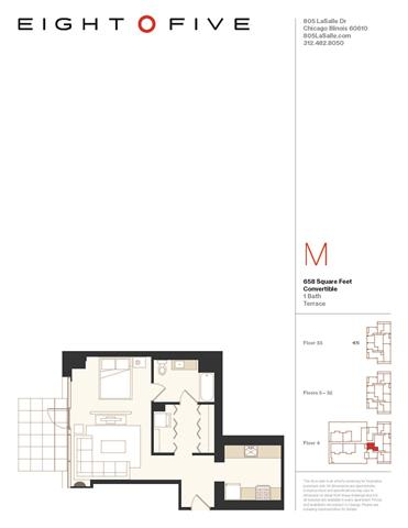 Floor Plan  Convertible 2 With Terrace Floor Plan  at Eight O Five, Chicago, IL, 60610