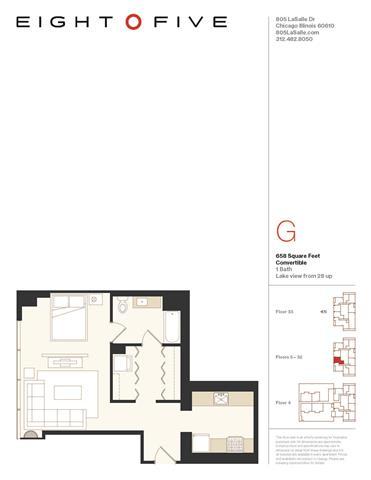 Floor Plan  Convertible 2 Floor Plan at Eight O Five, Chicago, 60610