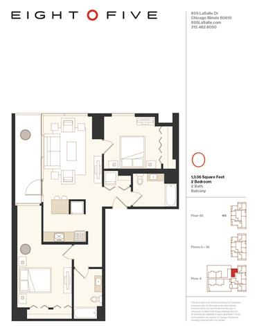 Floor Plan  D1 Floor Plan at Eight O Five, Chicago, Illinois