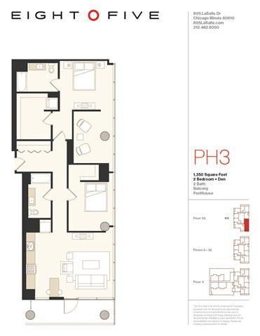 Floor Plan  D4PH Floor Plan at Eight O Five, Chicago, IL, 60610