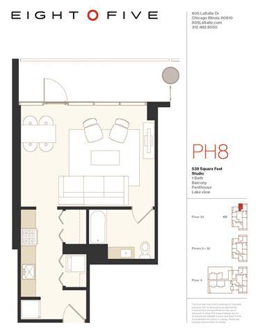 Floor Plan  Studio1PH Floor Plan at Eight O Five, Chicago, 60610