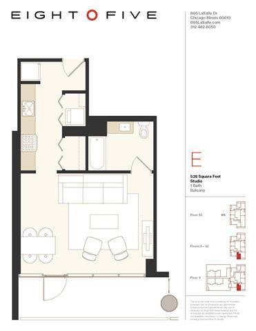 Floor Plan  Studio1W Floor Plan at Eight O Five, Chicago, Illinois