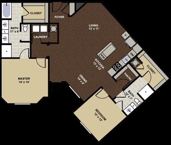 Floor Plan  Kirkwood Floor Plan at Berkshire Dilworth, Charlotte, NC, 28204