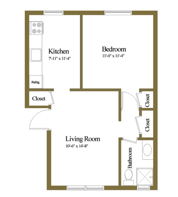 1 bedroom 1 bathroom apartment floor plan at Loch Bend